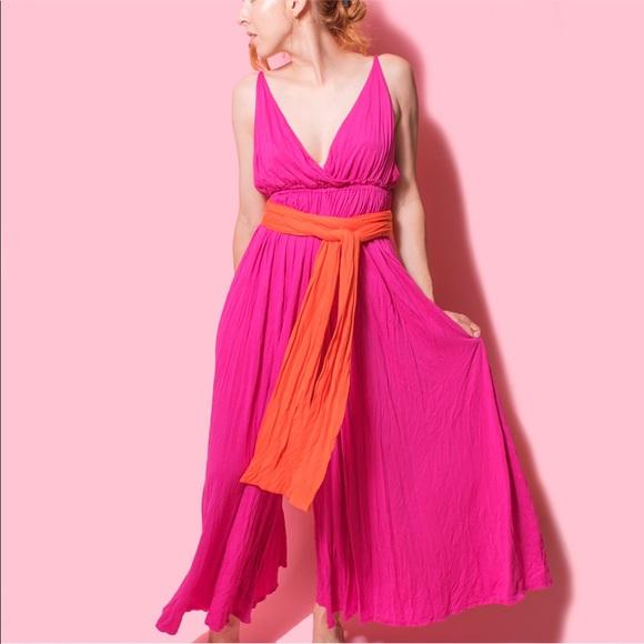 1db0a79ba11f Free People Pants - Free People Heatwave hot pink + orange jumpsuit